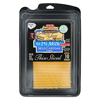 H-E-B 2% Milk Mild Cheddar Thin Sliced Cheese,8 OZ