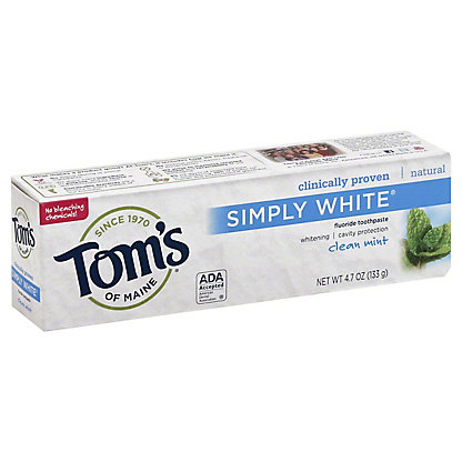 Tom's of Maine Simply White Clean Mint Fluoride Toothpaste,4.7 OZ