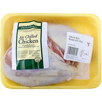Central Market Natural Air Chilled Split Bone-In Chicken Breast,LB