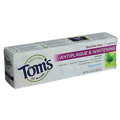 Tom's of Maine Fluoride-Free Antiplaque & Whitening Spearmint Toothpaste,5.5 OZ