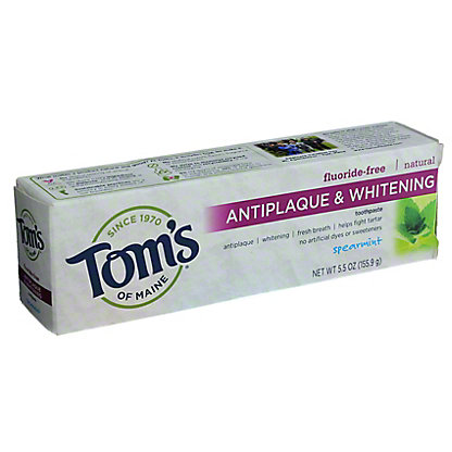Tom's of Maine Fluoride-Free Antiplaque & Whitening Spearmint Toothpaste,5.5 OZ