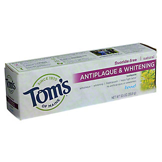 Tom's of Maine Fluoride-Free Antiplaque & Whitening Fennel Toothpaste,5.5 OZ