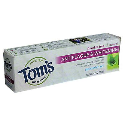 Tom's of Maine Fluoride-Free Antiplaque & Whitening Spearmint Gel Toothpaste,4.7 OZ
