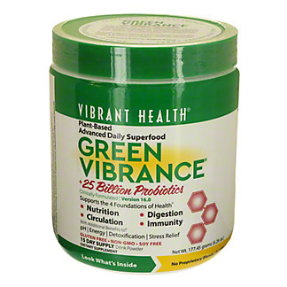 Vibrant Health Green Vibrance Organic Greens And Freeze Dried Grass Juices Powder,6.4 OZ