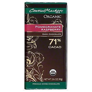 Central Market Organic 71% Cacao Pomegranate Raspberry Dark Chocolate, 3.16 oz