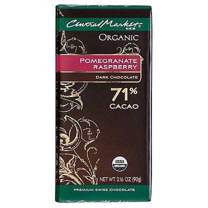 Central Market Organic 71% Cacao Pomegranate Raspberry Dark Chocolate, 3.16 oz