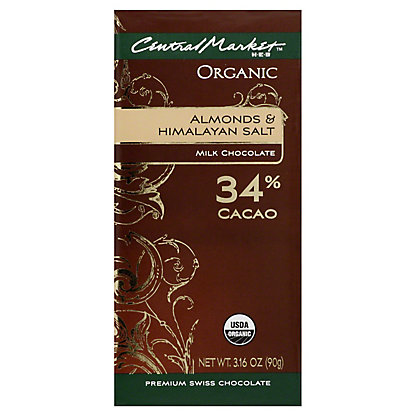 Central Market Organic 34% Cacao Almonds And Himalayan Salt Milk Chocolate, 3.16 oz
