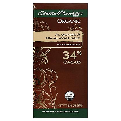 Central Market Organic 34% Cacao Almonds And Himalayan Salt Milk Chocolate, 3.16 oz