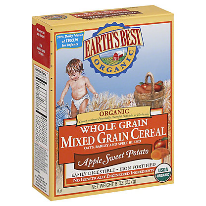 Earths Best Organic Apple Sweet Potato Mixed Grain Cereal, 8 OZ