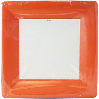 CASPARI Dinner Plate Grosgrain Deep Orange,8 ct
