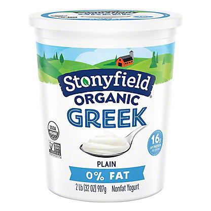 Stonyfield Organic Nonfat Greek Plain Yogurt,32 oz