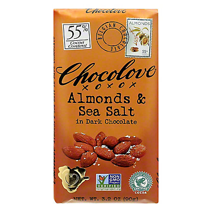 Chocolove Almonds & Sea Salt Dark Chocolate Bar,3.2 OZ