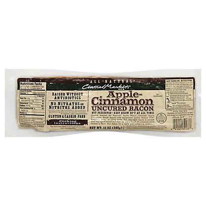 Central Market Natural Uncured Apple-Cinnamon Bacon,12 oz