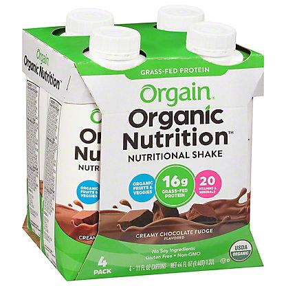Orgain Creamy Chocolate Fudge Organic Nutritional Shake, 4 CT- (11 OZ)