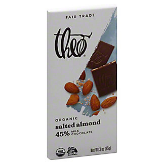 Theo Organic Milk Chocolate With Salted Almonds, 3 OZ