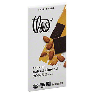 Theo Organic Dark Chocolate With Salted Almond,3 OZ