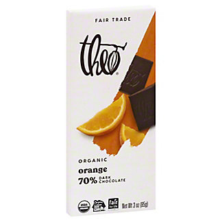 Theo Organic Dark Chocolate With Orange Bar,3 OZ