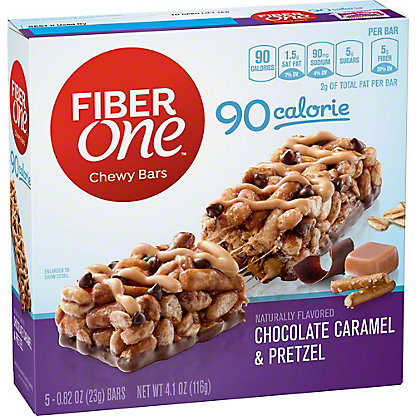 Fiber One 90 Calorie Chocolate Caramel and Pretzel Chewy Bars,5 CT