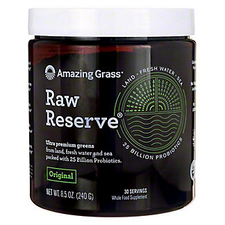 Amazing Grass Drink Powder Raw Reserve Green Superfood, 8.5 Oz