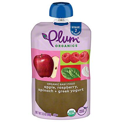 Plum Organics Stage 2 Raspberry Spinach & Greek Yogurt Baby Food, 3.5 oz