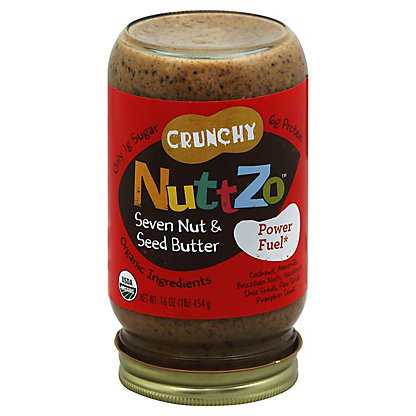 NuttZo Crunchy Peanut Free Nutbutter seven nut and seed butter,16 OZ