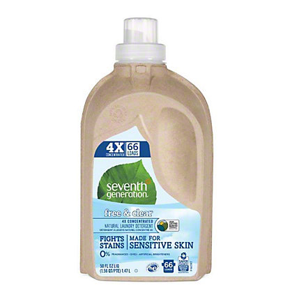 Seventh Generation Free & Clear 4X Concentrated Natural Laundry Detergent, 66 Loads,50 OZ