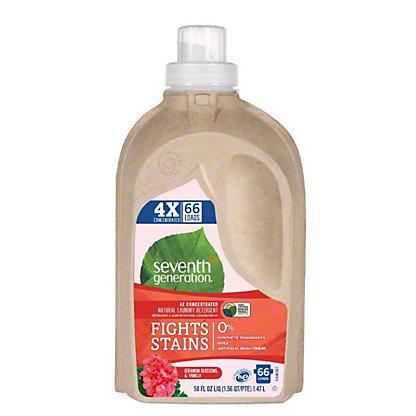 Seventh Generation Geranium Blossoms & Vanilla 4X Concentrated Natural Laundry Detergent, 66 Loads,50 OZ