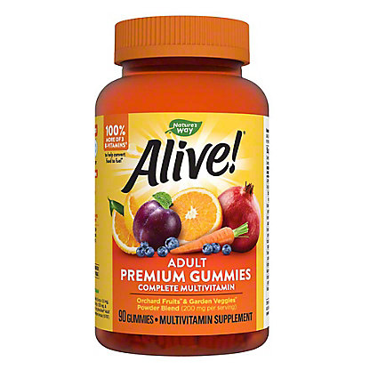 Nature's Way Alive! Multi-Vitamin Adult Gummies Assorted Flavors,90 ct