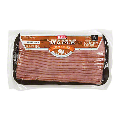 H-E-B Turkey Hardwood Smoked Maple Bacon,12 OZ