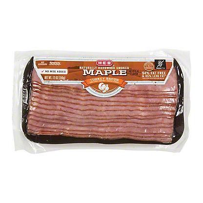 H-E-B Turkey Hardwood Smoked Maple Bacon,12 OZ
