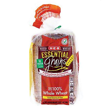H-E-B Essential Grains 100% Whole Wheat Bread, 24 OZ