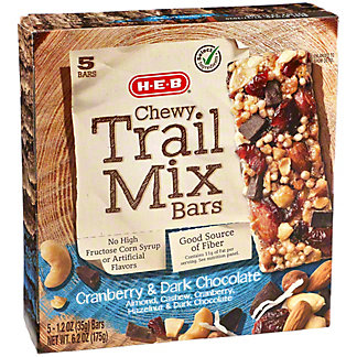 H-E-B Select Ingredients Chewy Cranberry and Dark Chocolate Trail Mix Bars,5 CT