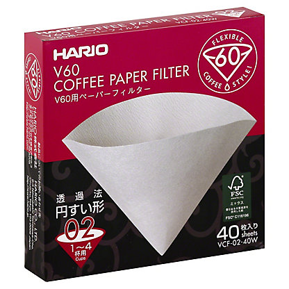 Hario Paper Filter White 02 Dripper, 40.00 ea