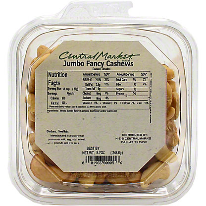 Central Market PrePacked No Salt Roasted Jumbo Cashews,7.7OZ