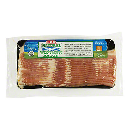 H-E-B Natural Uncured Applewood Smoked Bacon, 12 oz