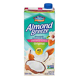 Blue Diamond Almonds Breeze Unsweetened Almond and Coconut  Milk Blend, 32 oz