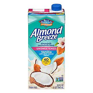 Blue Diamond Almonds Breeze Vanilla Unsweetened Almond and Coconut Milk Blend, 32 oz
