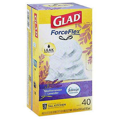Glad OdorShield with Febreze Tall Kitchen Drawstring Trash Bags 13 Gallon,40 ct