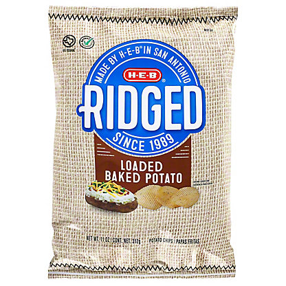 H-E-B Ridged Loaded Baked Potato Potato Chips,11.00 oz