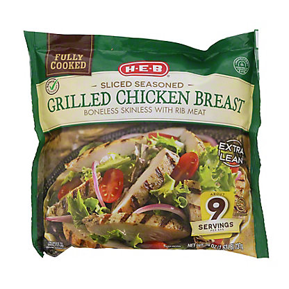 H-E-B Fully Cooked Sliced Grilled Texas Size Chicken Breasts,26 OZ