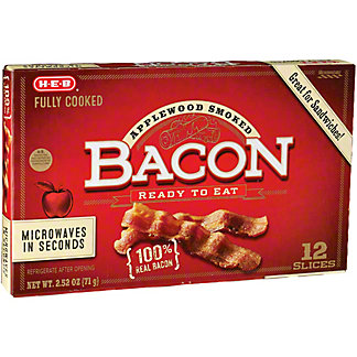 H-E-B Fully Cooked Applewood Thick Cut Bacon,2.1 OZ
