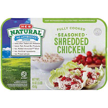 H-E-B Natural Fully Cooked Seasoned Shredded Chicken,16 OZ