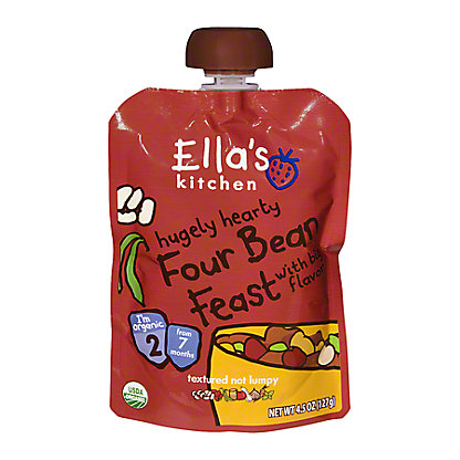 Ella's Kitchen Stage 2 Hugely Hearty Four Bean Feast with Big Flavor,4.5 OZ