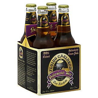 Flying Cauldron Butterscotch Beer Non-Alcoholic Soda 12 oz Bottles,4 pk