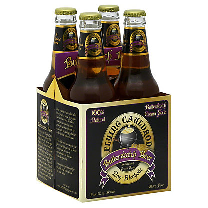 Flying Cauldron Butterscotch Beer Non-Alcoholic Soda 12 oz Bottles,4 pk