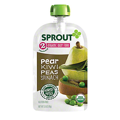 Sprout Stage 2 Pear Kiwi Peas & Spinach Organic Baby Food,4 oz