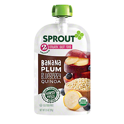 Sprout Stage 2 Banana Plum Blueberry Quinoa Organic Baby Food,4 oz