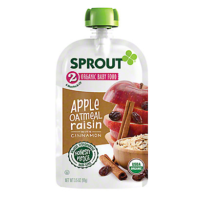 Sprout Stage 2 Apple Oatmeal Raisin with Cinnamon Organic Baby Food,4 oz