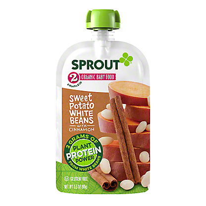 Sprout Stage 2 Sweet Potato & White Beans with Cinnamon Organic Baby Food,4 oz