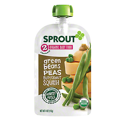 Sprout Stage 2 Green Beans Peas & Butternut Squash Organic Baby Food,4  oz